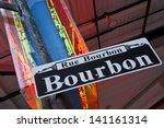 bourbon street sign and neon in ... | Shutterstock . vector #141161314