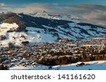 aerial view on ski resort... | Shutterstock . vector #141161620