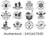 set of honey farm badges ... | Shutterstock .eps vector #1411617620