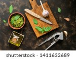 pesto sauce in a clay bowl ... | Shutterstock . vector #1411632689