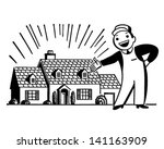 man with freshly painted house  ... | Shutterstock .eps vector #141163909