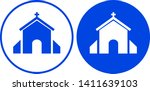 church icon in circle. vector... | Shutterstock .eps vector #1411639103