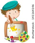 illustration of a little boy... | Shutterstock .eps vector #141164146