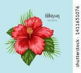 tropical exotic hibiscus flower ... | Shutterstock .eps vector #1411651076