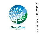 green tree stylized symbol ... | Shutterstock .eps vector #1411679519
