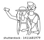 tourist boy and girl with bag...   Shutterstock .eps vector #1411681979