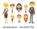 flat vector set of disciples... | Shutterstock .eps vector #1411691756