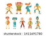 flat vector set of evil clowns. ... | Shutterstock .eps vector #1411691780