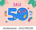 hot summer sale. vector... | Shutterstock .eps vector #1411709150