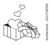 pop art gift box cartoon in... | Shutterstock .eps vector #1411736540
