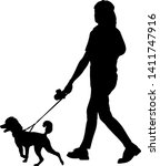 silhouette of woman and dog on... | Shutterstock .eps vector #1411747916