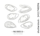 hand drawn sketch style mussels ... | Shutterstock .eps vector #1411748396