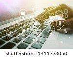 hand and laptop  data... | Shutterstock . vector #1411773050