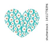 heart with turquoise evil eyes... | Shutterstock .eps vector #1411778396
