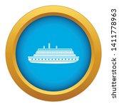 long ship icon blue vector...