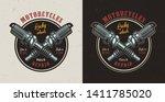 vintage motorcycle repair shop...   Shutterstock .eps vector #1411785020