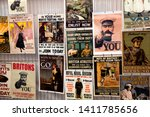 Small photo of Tarrant Hinton, Dorset / UK - August 30 2014: A display of reproduced posters at the World War One Centenary Commemoration display, Great Dorset Steam Fair, Blandford, Dorset, United Kingdom, 2014.