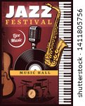 vintage colored jazz music... | Shutterstock .eps vector #1411805756