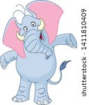 cheerful elephant with spread... | Shutterstock .eps vector #1411810409