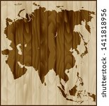 vector map of asia on wood... | Shutterstock .eps vector #1411818956
