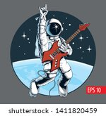 astronaut playing electric... | Shutterstock .eps vector #1411820459