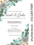 wedding invitation leaves and... | Shutterstock .eps vector #1411847489
