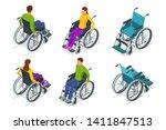 Isometric Wheelchair Isolated....