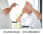 Small photo of Asian elderly woman were physically abused,attacking in house,angry man raised punishment fist,stop physical abuse senior people,caregiver,family stop violence and aggression concept