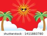 illustration of smiling sun... | Shutterstock .eps vector #1411883780