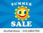illustration of smiling sun ... | Shutterstock .eps vector #1411883783