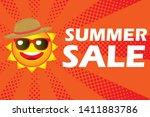 illustration of smiling sun ... | Shutterstock .eps vector #1411883786