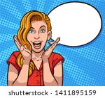 retro illustration of excited... | Shutterstock .eps vector #1411895159