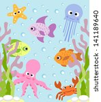 background card  with sea... | Shutterstock .eps vector #141189640