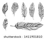 feathers on white background.... | Shutterstock .eps vector #1411901810