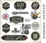 jazz music stamps and labels | Shutterstock .eps vector #141191119