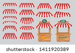 set of awing with wooden market ... | Shutterstock .eps vector #1411920389