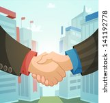 handshake  business illustration | Shutterstock .eps vector #141192778