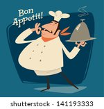 nice chef serving the dish.... | Shutterstock .eps vector #141193333