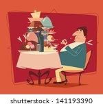 fat man eating in a restaurant. ... | Shutterstock .eps vector #141193390