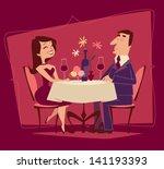 girl and guy. romantic date.... | Shutterstock .eps vector #141193393