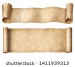Small photo of Narrow paper or parchment scrolls set isolated on white