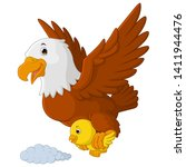 cartoon eagles fly with chicks... | Shutterstock . vector #1411944476