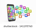 smartphone with cloud of...   Shutterstock . vector #141195763