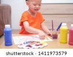 cute happy smiling little asian ... | Shutterstock . vector #1411973579