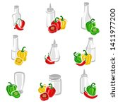 chili and pepper set.... | Shutterstock .eps vector #1411977200