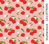 pomegranate fruit seamless....   Shutterstock .eps vector #1411979090