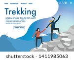 a man and woman are trekking up ... | Shutterstock .eps vector #1411985063