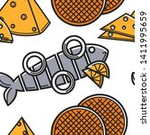 Stock vector seafood cheese and dessert holland food and cuisine seamless pattern vector herring with onion 1411995659
