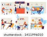 coffee house or cafe chairs and ... | Shutterstock .eps vector #1411996010