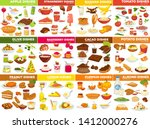 vegetable fruit and nut dishes... | Shutterstock .eps vector #1412000276